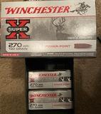 *NOT SOLD*WINCHESTER SUPER X 270 AMMO 130 GRAIN 1 BOX PER LOT