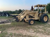 *NOT SOLD*FORD 6500 DIESEL TRACTOR WITH BUCKET/CRANE LIFT FOR MACHINERY WITH CHAINS
