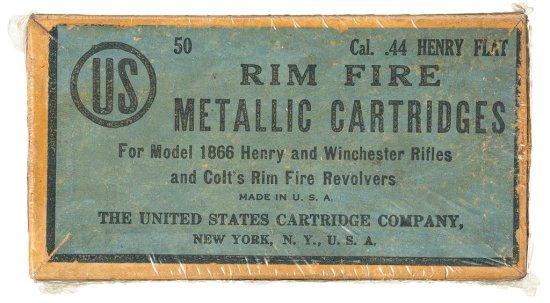 Vintage United States Cartridge Company 44 Henry Flat Rimfire Cartridge Box