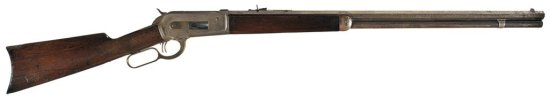 Special Order Winchester Model 1886 Lever Action Rifle with Extra Length Barrel, Set Triggers, and F