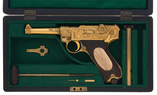 Exceptional and Historic Nazi 1939 Mauser Factory Engraved and Gold Plated Presentation Luger Semi-A