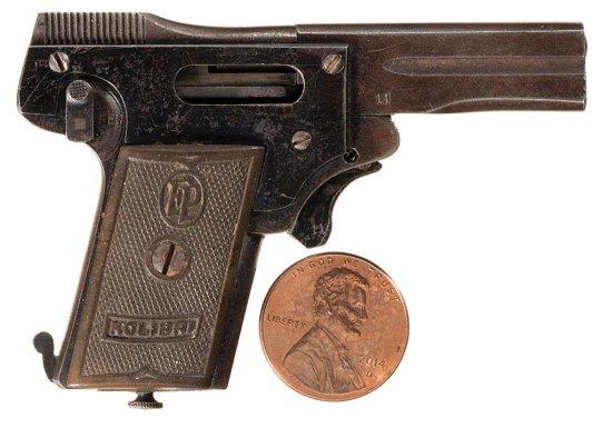 Kolibri Miniature Semi-Automatic Pistol with Two Cartridges and a Small Cartridge Box