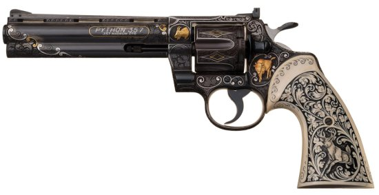 Historic Extremely Well-Documented Exhibition Quality Engraved, Inlaid and Carved Colt Python Double