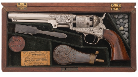 Cased Engraved Colt Model 1849 Pocket Percussion Revolver