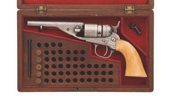 Cased Engraved Colt Pocket Navy Conversion Revolver