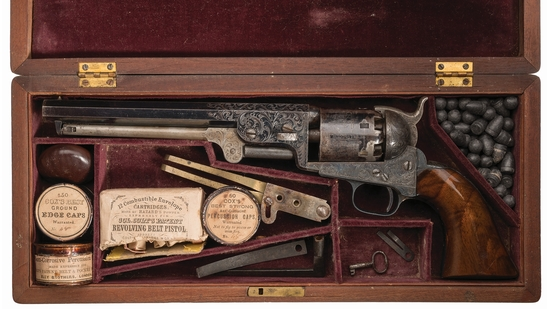 Cased Factory Engraved Colt Model 1851 Navy Revolver