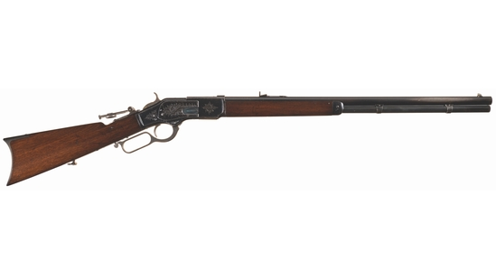 Engraved Winchester First Model 1873 Lever Action Rifle