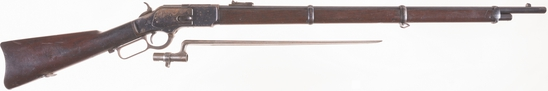 Antique Winchester Model 1873 Lever Action Musket with Bayonet