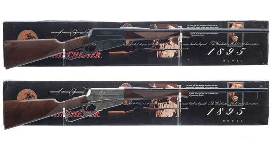 Two Winchester Model 1895 Lever Action Rifles with Boxes