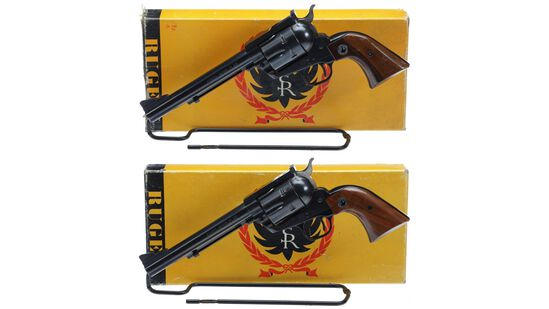Two Ruger Blackhawk Single Action Revolvers with Boxes