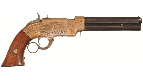 Gold Plated Factory Engraved Volcanic Lever Action Navy Pistol
