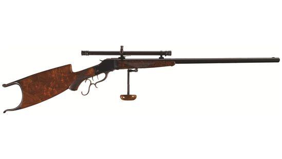 Scoped Winchester Model 1885 Takedown High Wall Schuetzen Rifle