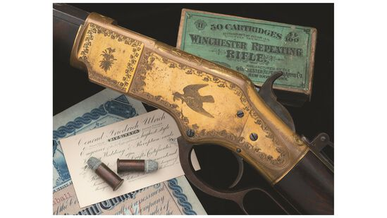 Conrad Ulrich Engraved Winchester Model 1866 Lever Action Rifle