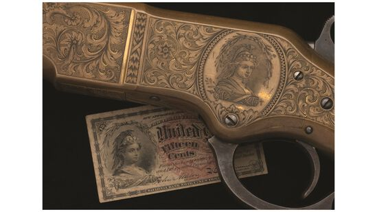 Nimschke Engraved Bust of Columbia Winchester Model 1866 Rifle