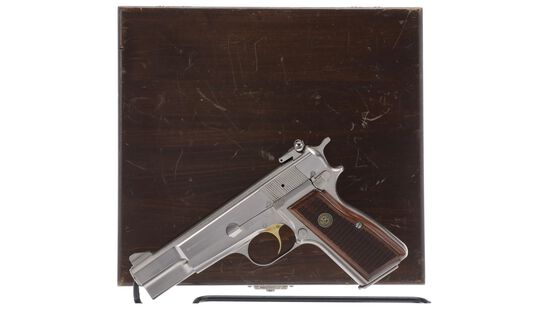 Belgian Browning High-Power Semi-Automatic Pistol with Wood Case