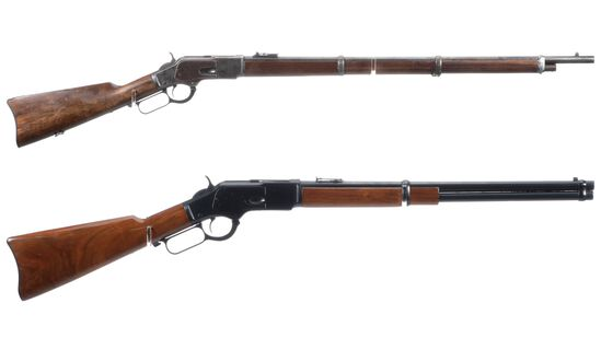 Two Winchester Model 1873 Lever Action Long Guns