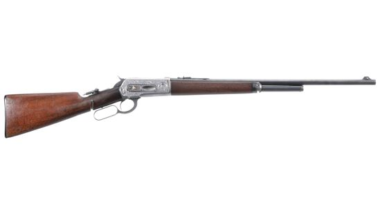 Engraved Winchester Model 1886 Lever Action Rifle