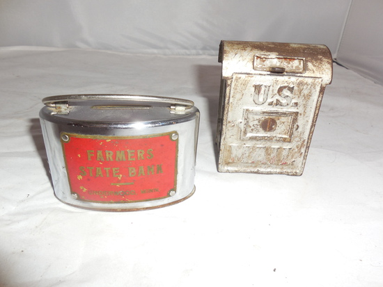 Cast Iron Farmers State Bank Of Underwood,MN  & US Post Office Coin Banks