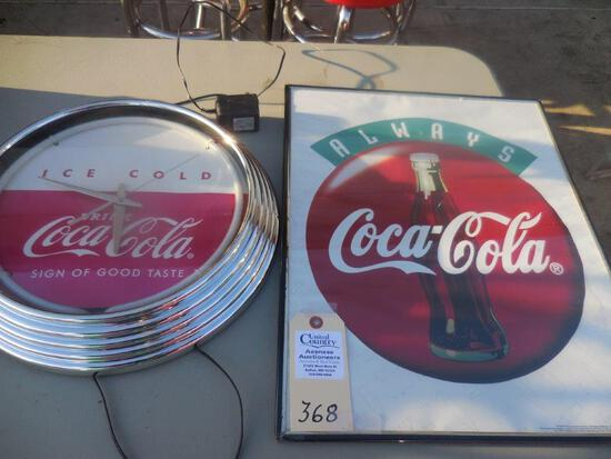 "Coca-Cola Clock Elec. & 18"" x 24"" Sign"