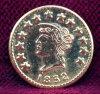 1852 California Fractional Gold Liberty Souvenir/Token, 1/2 Round