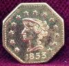 1853 Octagonal Liberty California Fractional Gold Souvenir/Token