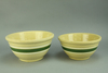 Vintage Green & White Banded Mixing Bowls