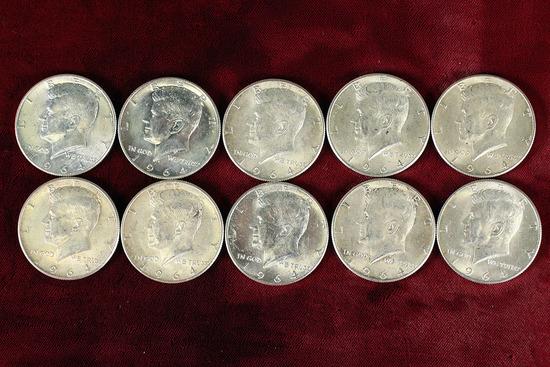 10 1964 Kennedy 90% Silver Half Dollars