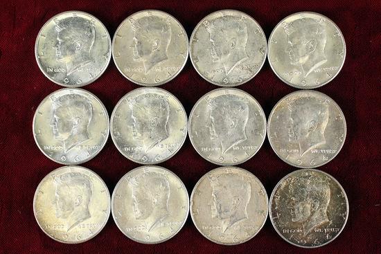 12 1964 Kennedy 90% Silver Half Dollars