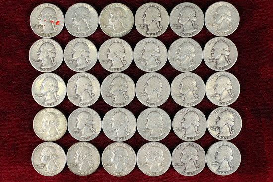 30 Washington Silver Quarters; various dates/mints