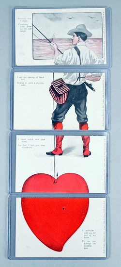 """Antique """"Puzzle - Installment"""" Valentine Post Card Series, Ca. 1906"""