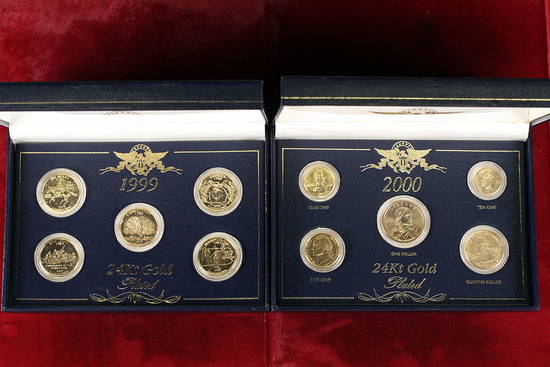 1999 20K Gold Plated State Quarter Set & 2000 5-Coin Gold Plated Year Set