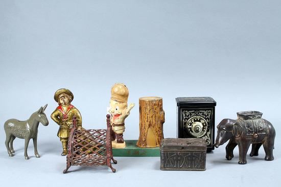 Assorted Still Banks: Elmer Fudd, Buster Brown, Elephant & More