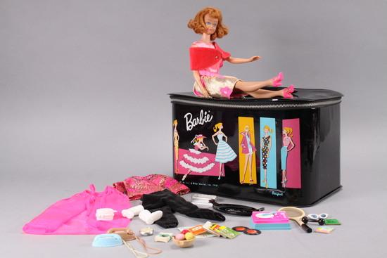 Vintage Barbie Carrying Case, Midge Doll, Clothes & Accessories