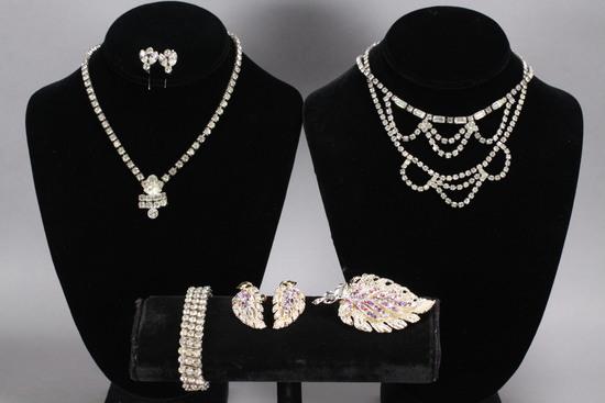 Rhinestone Jewelry - Vintage Costume: Necklace, Bracelet, Earrings & More