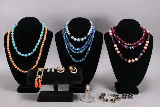 Vintage Costume Jewelry: Beaded Necklaces, Bracelets, Earrings, Rings