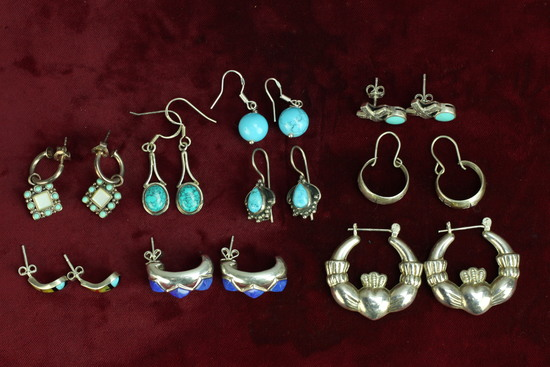 Southwest - Native American Style Silver Colored Earrings