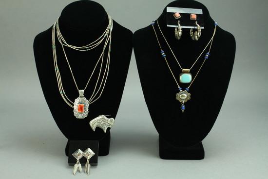 Southwest - Native American Style Silver Pendants, Earrings, Chains