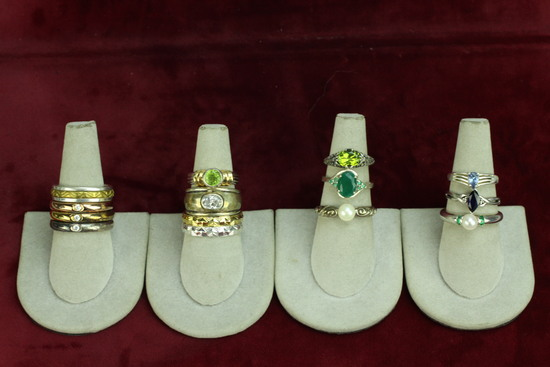 """Large Assortment Silver """".925"""" Rings, Sz. 5-9"""