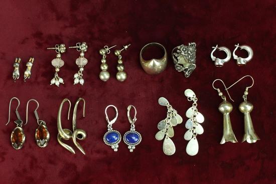 """Silver """".925"""" Rings & Earrings, Sz. 6 & 7.5"""