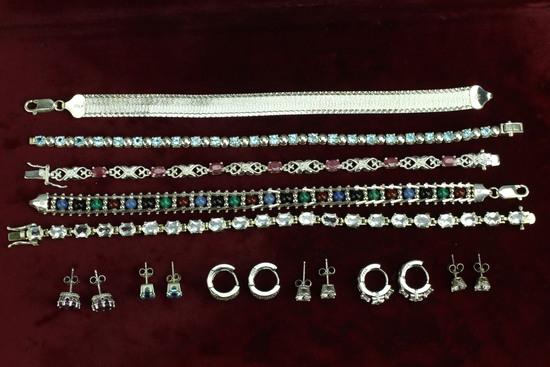 """Assorted """".925"""" Bracelets - Earrings"""