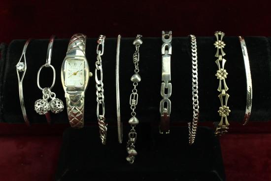 Assorted Sterling Silver Bracelets & Watch