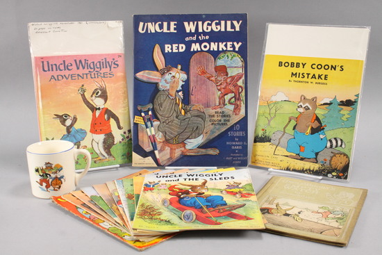 Vintage Children's Books & Cup: Uncle Wiggily, Bobby Coon