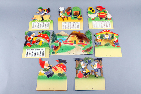 Die Cut German Calendar Holders w/ Embossed Tops