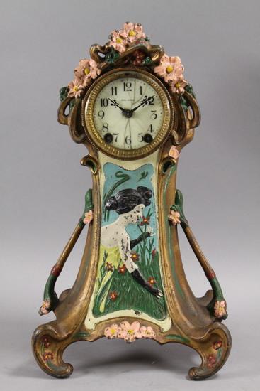 Seth Thomas Art Nouveau Metal Table Clock, Ca. 1900