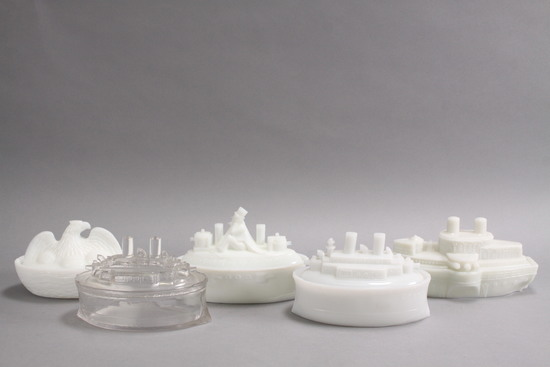 Spanish American War Covered Bowls - Milk Glass Items