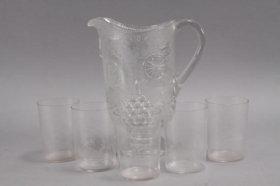 Spanish American War Commemorative Pitcher & Glasses