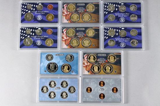 3 US Mint Proof Sets; 2007 w/Presidential $1 Set, 2008, 2009