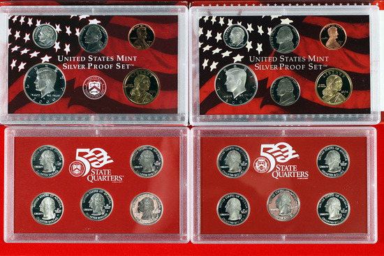 2 US Mint Silver Proof Sets; 2000,2004