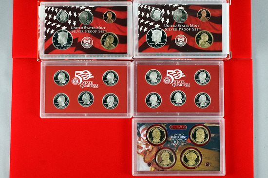 2 US Mint Silver Proof Sets; 2006, 2008 w/$1coin proof set