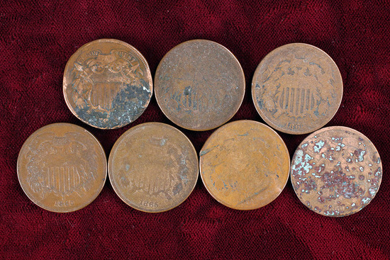 7 old US 2-Cent Pieces 1864-1871